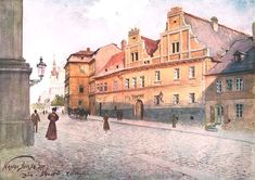 Václav Jansa – U Šálků, Resslova street in Prague Pintura Exterior, Different Points Of View, Exotic Art, Old Paintings, My Heritage, Czech Republic, Prague, Old Houses, Watercolor Art