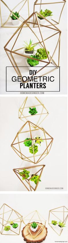 DIY Geometric Planters Make these DIY planters out of straws and wire! This little geometric craft is so easy and cheap to whip up! Trendy Home Decor, Easy Home Decor, Cheap Home Decor, Decoracion Low Cost, Geometric Decor, Bedroom Plants, How To Make Diy, Diy Planters, Decorating On A Budget