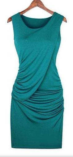 Teal Draped Dress