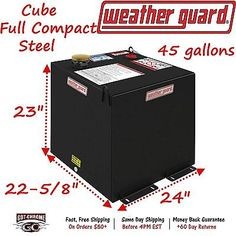 357-5-01 Weather Guard Transfer Fuel Tank 45 Gallon Black Steel Cube Shape