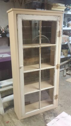 Window cabinet with pallet wood for backing. Furniture Fix, Reupholster Furniture, Diy Furniture Projects, Furniture Makeover, Wood Projects, Woodworking Projects, Primitive Furniture, Repurposed Furniture, Rustic Furniture