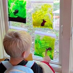 20 easy and fun educational activities for 2 year olds (make your own fish aquarium and put it on the window for the kids to play with...)