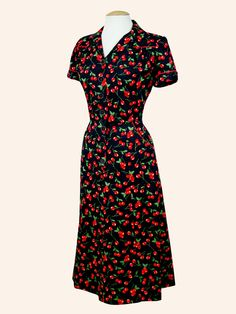 1940s Style Tea Dress Cherry Black