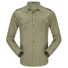 dde7df6404b Men Fashion Quality Cotton Casual Shirt Long-Sleeved Detachable Sleeves  Autumn Shirt Army Green Military