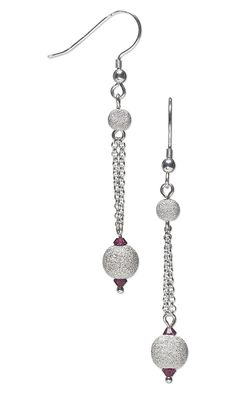 Jewelry Design - Earrings with Sterling Silver Stardust Beads, Swarovski Crystal Beads and Sterling Silver Chain - Fire Mountain Gems and Beads