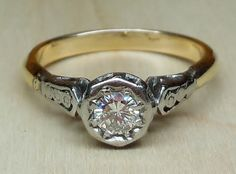 Vintage Antique .25ct Transitional Cut Diamond 18k Yellow Gold Platinum Engagement Ring 1880-1920 Art Deco/Victorian by DiamondAddiction on Etsy