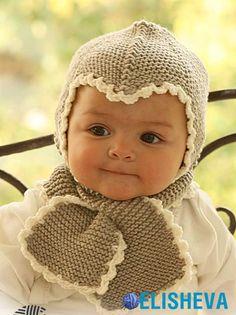 Чепчик и шарфик спицами для малыша от Drops Design, вязаные спицами и крючком