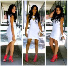 White Asymmetrical Hem Sexy Party Dress.