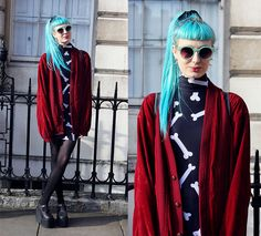Check out lazy oaf dresses looks from real people around the world. Lazy Oaf, Charity Shop, Vintage Jacket, Primark, Vintage Shops, Kimono Top, Punk, London Fashion, Platforms