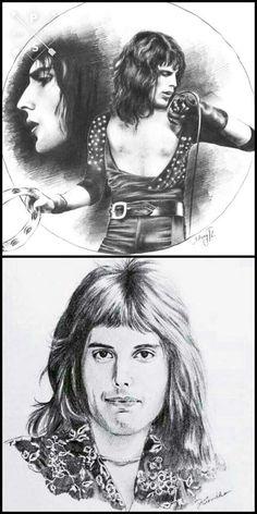 Queen Drawing, Princes Of The Universe, Queen Love, Queen Art, Greatest Rock Bands, Queen Freddie Mercury, Killer Queen, Portrait Art, Art Music