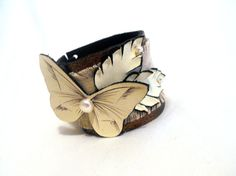 Leather bracelet Monochrome woman fashion cuff with by julishland, $22.00