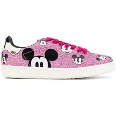 Moa Master Of Arts Mickey print sneakers ($180) ❤ liked on Polyvore featuring shoes, sneakers, pink, pink leather sneakers, pink leather shoes, genuine leather shoes, pattern leather shoes and leather footwear