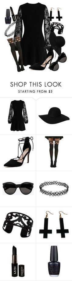 """""""American Horror Story Coven"""" by mvp-krissy ❤ liked on Polyvore featuring Chicwish, Monki, Verali, Yves Saint Laurent, Lisa August, Chicnova Fashion, NYX and OPI"""