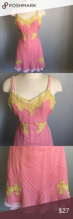 BETSEY JOHNSON PINK YELLOW LACE NIGHTGOWN (2) NIGHTGOWN, has CHIFFON slip inside. Size 2. Betsey Johnson Intimates & Sleepwear Chemises & Slips