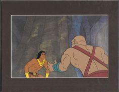 John BLACKSTAR 1981 original production animation cel and Background Filmation 2