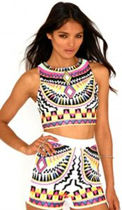 Aztec print crop-top and high-waisted shorts