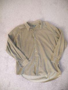 Mens J Crew Button Up Long Sleeve Corduroy Shirt Green Size X-Large Tall EUC