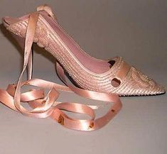 Shoes by Roger Vivier for Dior (silk, leather & glass), c.1957. Met Museum. #RogerVivier