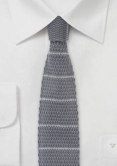 Mens Knit Necktie in Gray with Silver Stripes