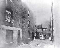 "Boundary Street in the Old Nichol, Shoreditch, London, 1890. The ""evil"" reputation of the Old Nichol owed much to Arthur Morrison's fictionalised account of it in A Child of the Jago, 1896. (wiki)"