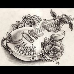 Guitar tattoo I want to get except a few changes to it :) music speaks where words fail!