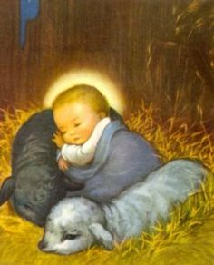 """""""And knew her not till she had brought forth her firstborn Son: and he called His Name JESUS. Christmas Scenes, Christmas Nativity, Christmas Pictures, Christmas Baby, Vintage Christmas Cards, Vintage Holiday, Vintage Cards, Catholic Art, Religious Art"""