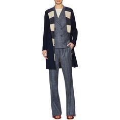 Max Mara Women's Veliero Revisable Coat - Blue - Size 10 ($839) ❤ liked on Polyvore featuring outerwear, coats, blue, maxmara coat, blue wool coat, collarless coat, woolen coat and maxmara