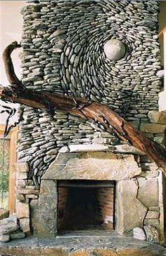"~My husband will be ""Over the Moon"" for this natural stone fireplace/mantle. God knows I fell like a rock for him."