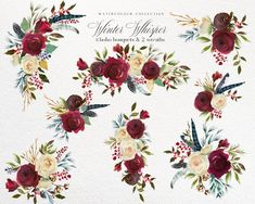 Watercolor Flowers Clipart Burgundy Navy Gold Boho Floral