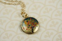 Small Flower Tree Locket Pendant, Initial Locket, Photo Necklace, Picture Jewelry, Colorful Floral Locket Kids,14kt Gold Filled Small Locket by FreshyFig on Etsy https://www.etsy.com/listing/62742585/small-flower-tree-locket-pendant-initial
