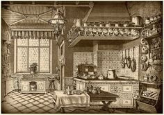 genuine victorian kitchen: open shelving, tin panelling, old glass