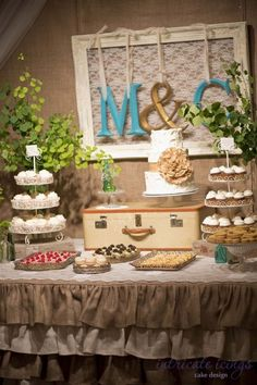 Rustic Sugar Burlap wedding cake with dessert bar.  Cake and cupcakes by Intricate Icings Cake Design, Photos by Shelley Coar Photography