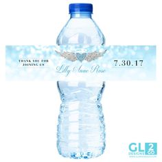 Blue Water Bottle Label w/ Heart Halo Wings. Boy Baby Shower / Birthday Printable Blue, White & Silver Water Bottle Label for Party Favor. Thank Heaven for Little Boys theme / Heaven Sent by GLDesigns2Go