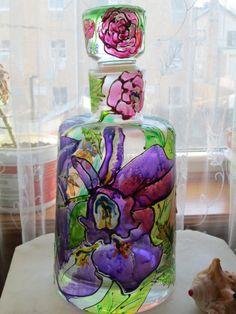 Unique Vine Chivas Glass My Favorite Flowers hand by IRINACRAFT, $35.00