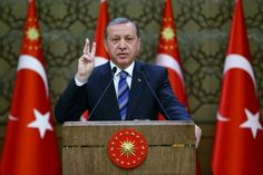 Presidential Palace handout photo shows Turkish President Erdogan addresses visiting police officers in Ankara
