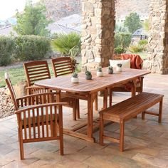 This 6-piece dining set is ideal for any outdoor or indoor seating decor. Made from solid acacia hardwood, this dining set is sure to delight for years.