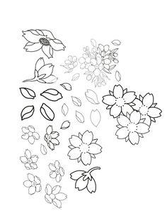 Japanese Flower Tattoo, Small Flower Tattoos, Japanese Tattoo Designs, Japanese Sleeve Tattoos, Japanese Flowers, Flower Tattoo Designs, Pencil Drawings Of Flowers, Simple Line Drawings, Japanese Drawings