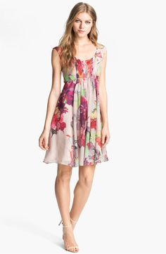 Ted Baker London 'Treasured Orchid' Print A-Line Dress // the waist seems oddly placed, but the print is pretty and the dress is romantic