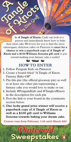 No purchase necessary.    USA only, age 18 or older.  Sweepstakes begins February 11, 2014.  Entries must be received no later than March 4, 2014, 11:59:59 PM Eastern Time.   Link to Official Rules is in the board description. #giveaway #sweepstakes #penguinkids #tangleofknots