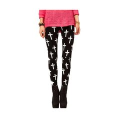 Black Skinny Elastic Leggings With White Cross Print TR0150009 (€15) ❤ liked on Polyvore featuring pants, leggings, black, black white pants, white trousers, leggings pants, black trousers and skinny leg pants