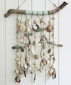 Seashell Art, Seashell Crafts, Beach Crafts, Fun Crafts, Arts And Crafts, Twig Art, Crochet Dreamcatcher, Driftwood Crafts, Beaded Curtains