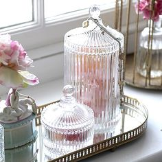 ❥ ribbed glass jars for dressing tables