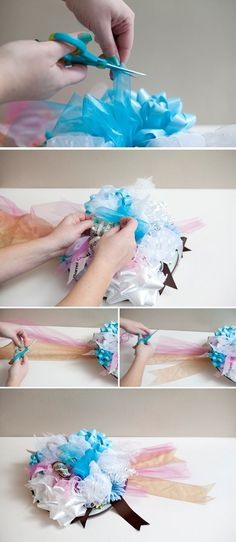 DIY - how to make a bridal shower ribbon bouquet to carry during the wedding rehearsal! Check available dates for your wedding shower at Balcones Country Club, Austin, TX ext 231 Wedding Rehearsal Bouquet, Bridal Shower Bouquet, Bridal Shower Games, Wedding Bouquets, Bridal Showers, Diy Shower, Shower Ideas, Shower Gifts, Ribbon Bouquet