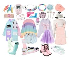 """""""Pastel Frisk"""" by cartoonvillian ❤ liked on Polyvore featuring Valentino, Aigle, Dr. Martens, adidas Originals, Sophia Webster, Zara Taylor and UNIF"""