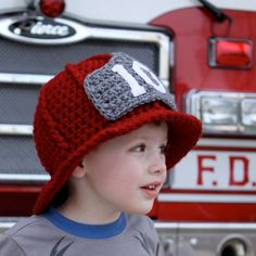 Firefighter hat pattern by Micha makes. Have a construction hat pattern already! Bonnet Crochet, Crochet Baby Hats, Crochet Beanie, Crochet For Kids, Knit Crochet, Crochet Rabbit, Crochet Anchor, Crocheted Hats, Free Crochet