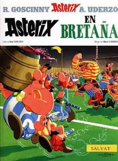 Asterix and Obelix use some magic potion to try and keep Roman invaders out of a British village. Asterix E Obelix, Albert Uderzo, Tattoo Project, Comic Page, Album, Space Crafts, Comic Covers, Book Covers, Childhood Memories