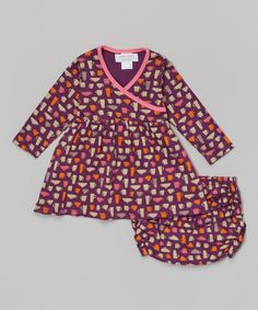 Purple & Pink Tea for Two Organic Dress & Diaper Cover