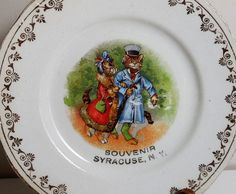 Syracuse NY - Vintage Semi Porcelain Souvenir Plate - W.M. Co - 1909 - Anthropomorphic Cats