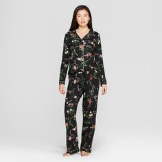 b50047b96d BOGO 50 off with jogger pants-large-Women's Floral Print Total Comfort  Notch Collar Pajama Set - Gilligan & O'Malley™ Black L : Target