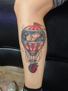 Hot-air balloon traditional old school color tattoo heart brain
